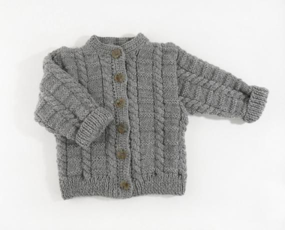 7355b8291c01 Hand Knitted Baby Cardigan and Hat - Grey