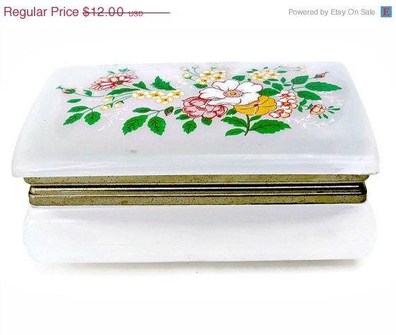 ON SALE Vintage Celluloid Trinket Box Jewelry Hong Kong