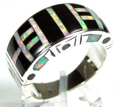 Zuni Cubic Zirconia /& White Opal Inlay Sterling Silver Ring Size 9