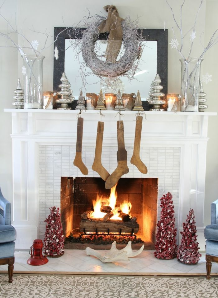 inneneinrichtung wohnzimmer weihnachten kamin dekorieren ...