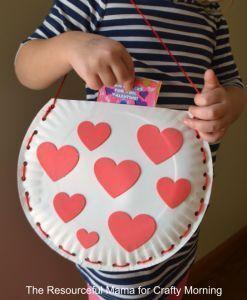 Paper Plate Valentine Bag Craft For Kids