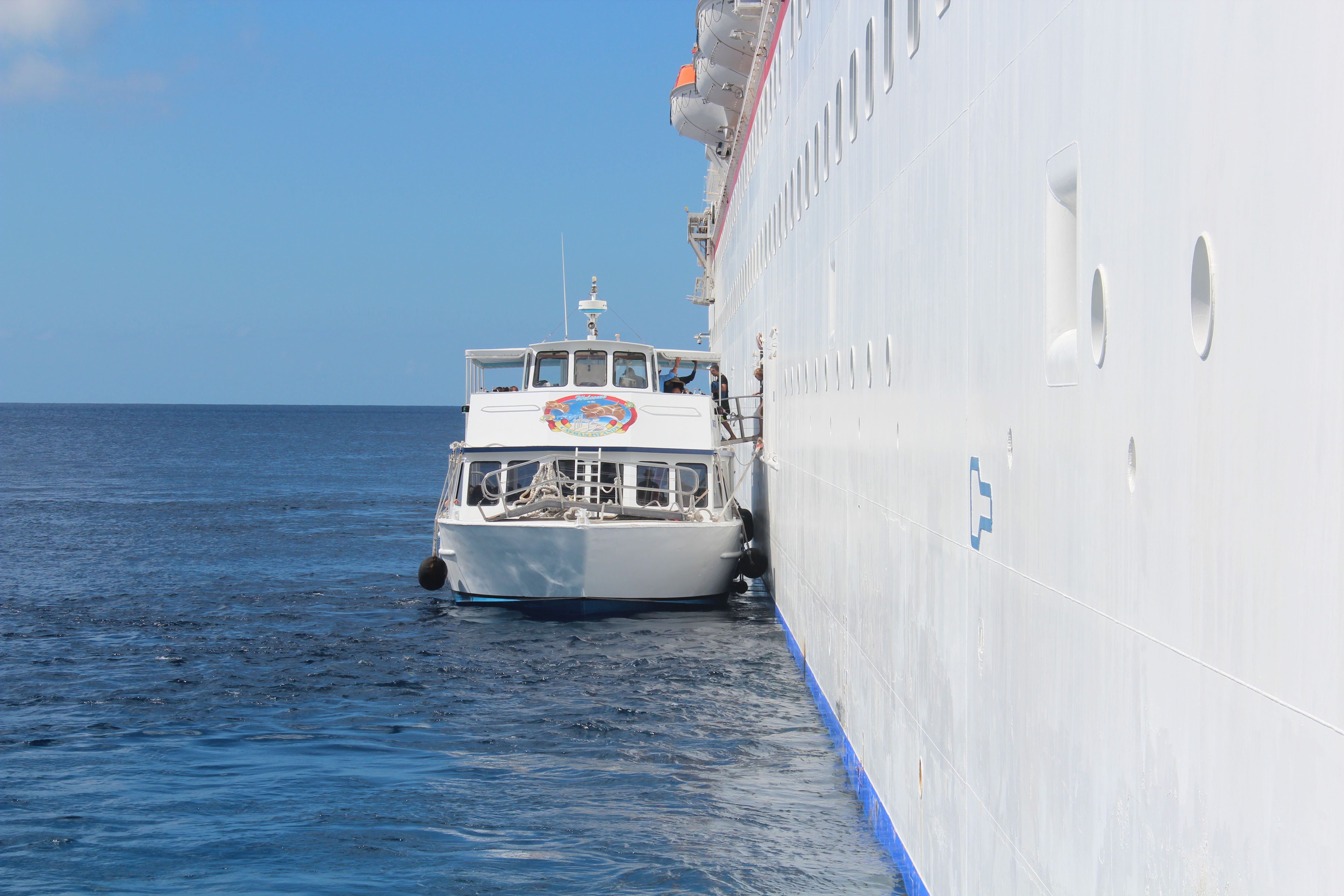 Waiting On The Tender Boat From The Ship Over To Grand Cayman Caribbean Cruise Royal Caribbean Ships Liberty Of The Seas