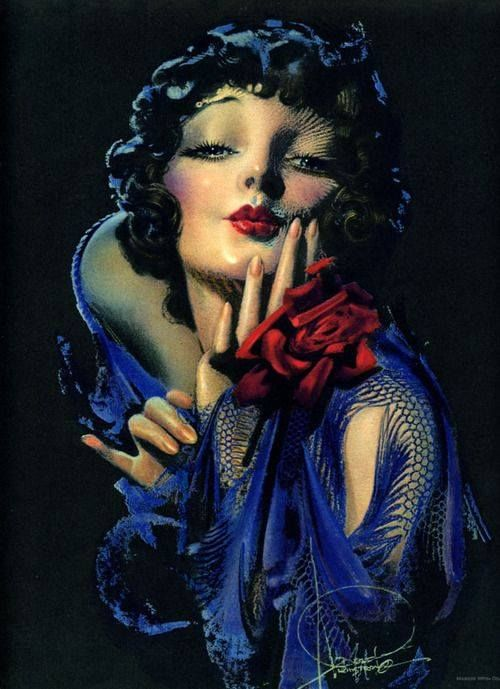 """Blow Me a Kiss"" by Rolf Armstrong (1920's)"