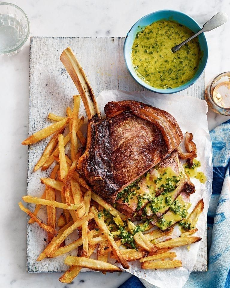 64 Easy Dinner Recipes For Two: Rib Steak For Two With Pesto Hollandaise And Skinny Oven