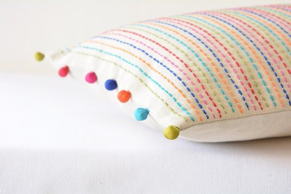 Colourful hand Embroidery on Ecru Cotton Linen , Hand Embroidered Lumbar Pillow with Pom Pom , Linen