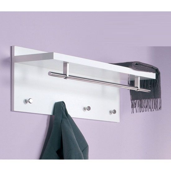 Wall Coat Hangers In Hallway pablo white wall mounted coat rack in high gloss with shelf   wall