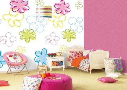 Little Girls Bedrooms | Flowers Painting For Girl Room Ideas