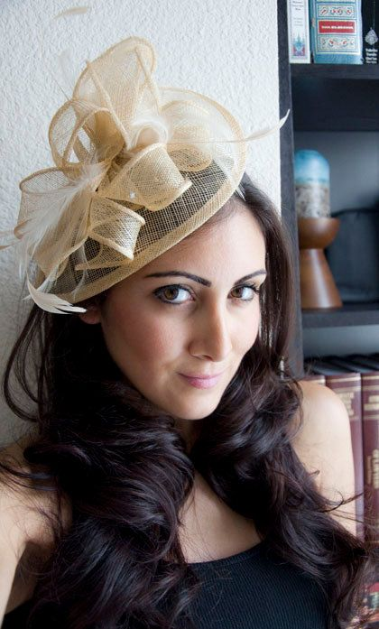 "Yellow Gold Fascinator - ""Penny"" Mesh Hat Fascinator with Mesh Ribbons & Golden Feathers. $54.00, via Etsy."