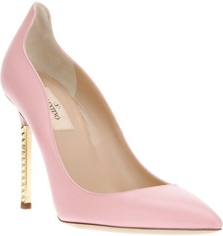 Baby-pink Valentino pumps with metallic heels: