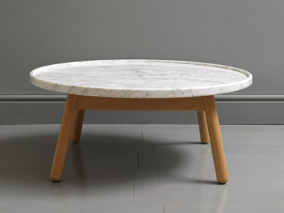 Round Coffee Table Design With White Marble Top And Rounded Corner