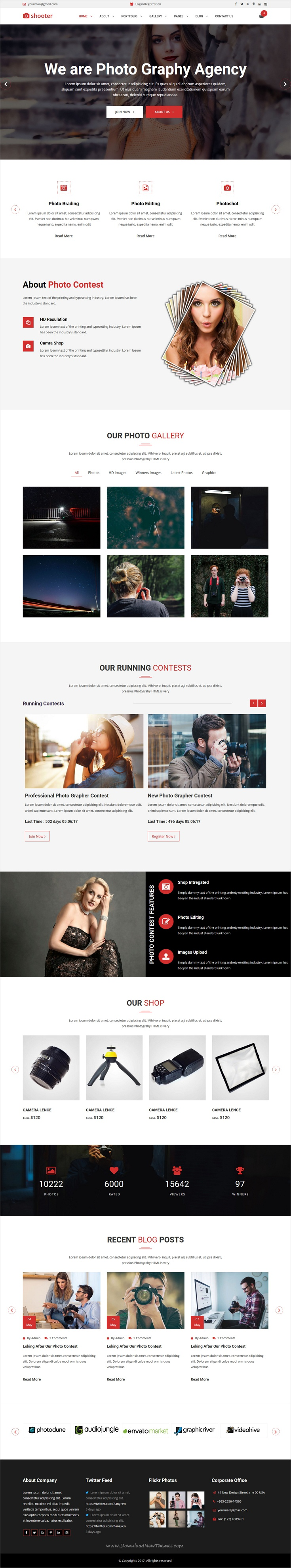 Shooter Photography Portfolio And Photo Contest HTML Responsive - Photo contest website template