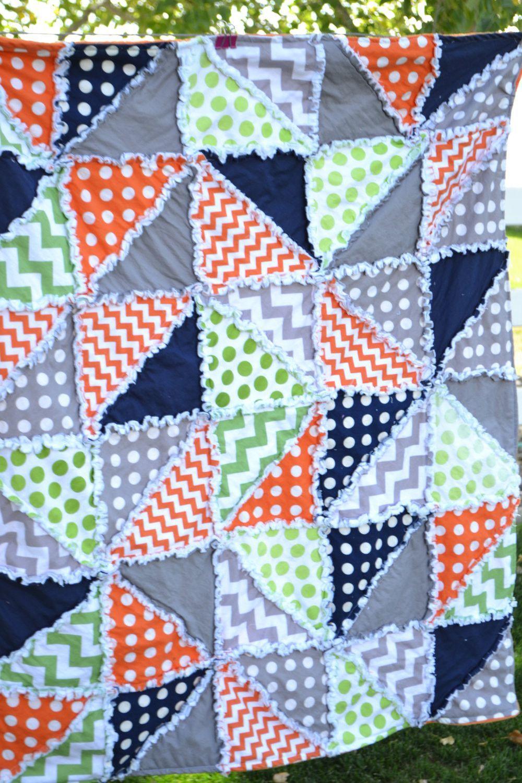 Boy Rag Quilt in Polka Dot and Chevron, Gray, Green, Orange, and ... : rag quilt patterns instructions - Adamdwight.com