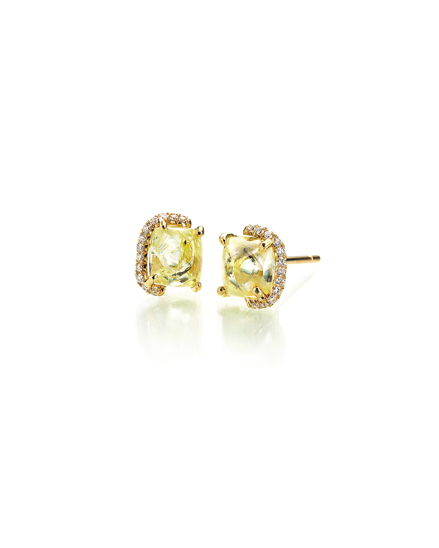 Diamond in the Rough 4 48 carat yellow rough diamond stud earrings