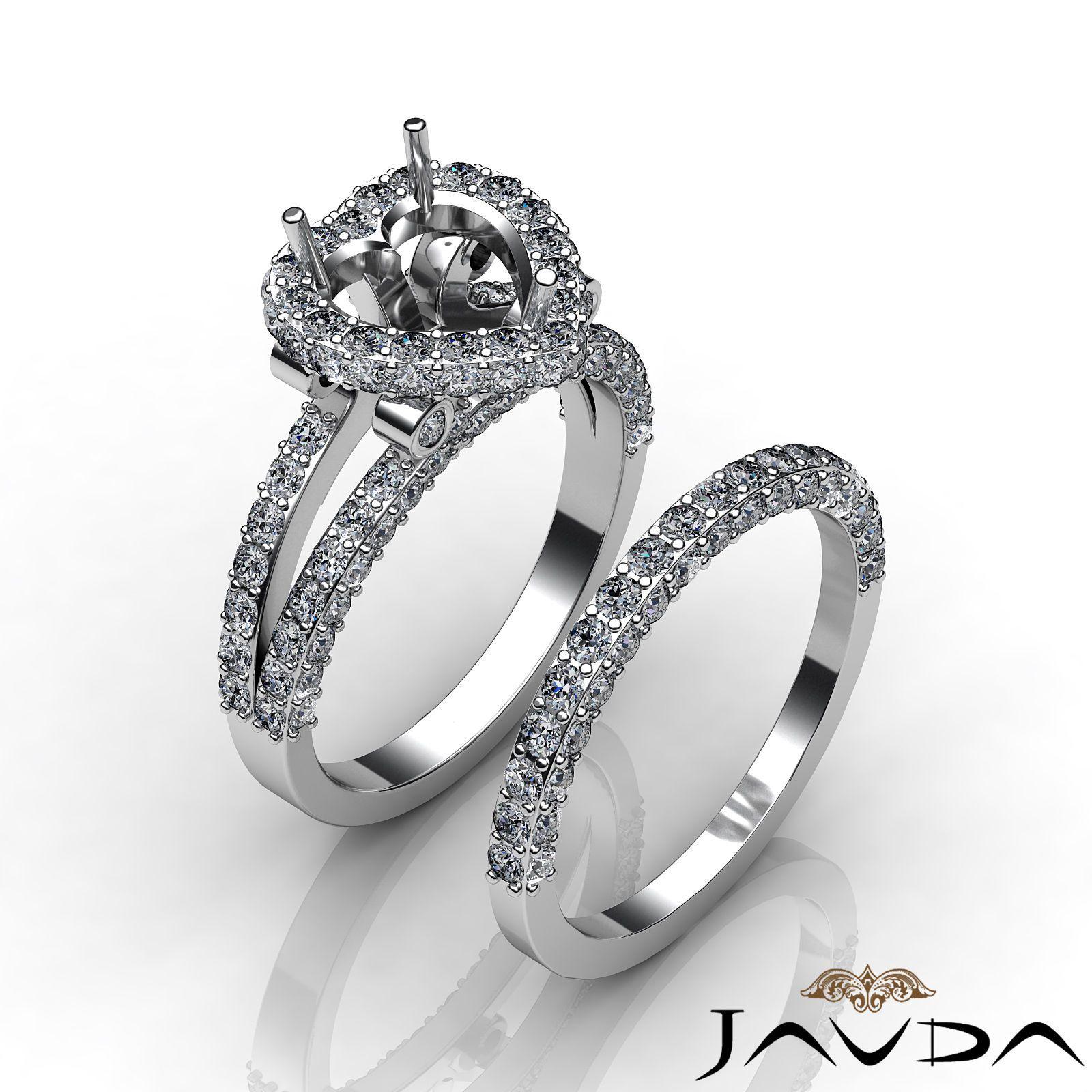 ebay wedding ring sets Pave Diamond Engagement Ring Heart Bridal Setting Platinum Semi Mount 2 75ct eBay