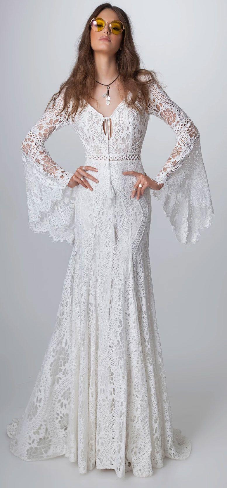 These Romantic Long sleeve boho Wedding Dresses are pure romance