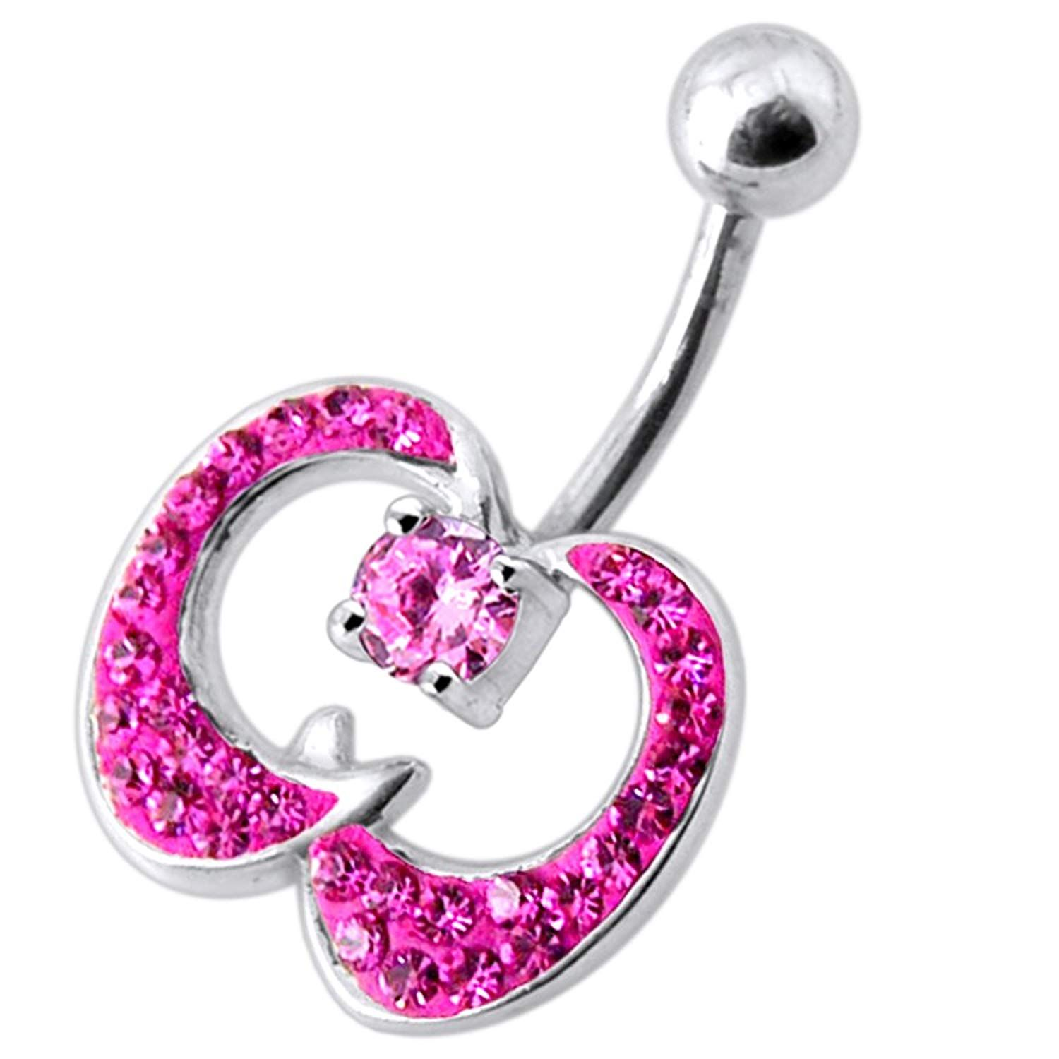 Nose piercing gun kit  Jeweled Fancy Apple Shape Multi Crystals Silver Belly Ring Body