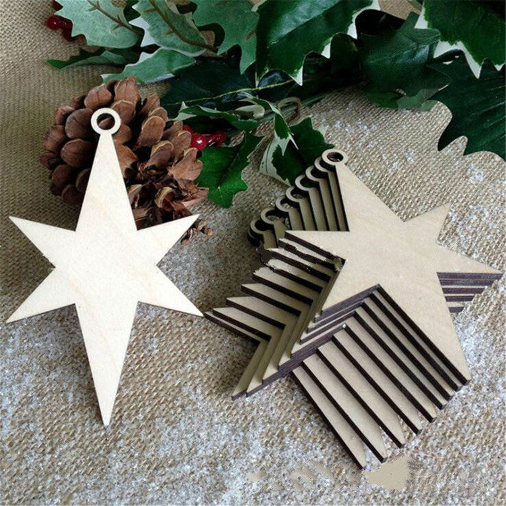 10pcs Wooden Blank Angel Embellishment Tag Christmas Tree Decoration DIY