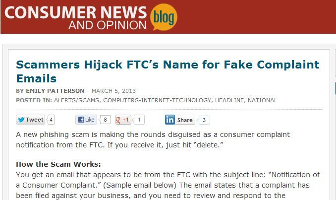 Donu0027t be fooled! A new phishing scam is making the rounds - sample ftc complaint form