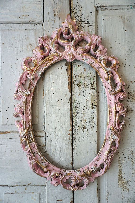 cf54e7a49086 Pink oval picture frame gold accents ornate hanging roses scrolls shabby  cottage chic distressed vintage painted decor anita spero design