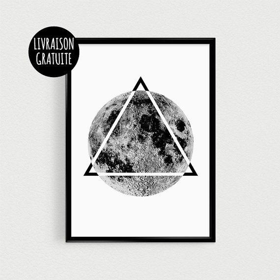 Poster hipster lune et triangle noir et blanc affiche for Decoration murale hipster