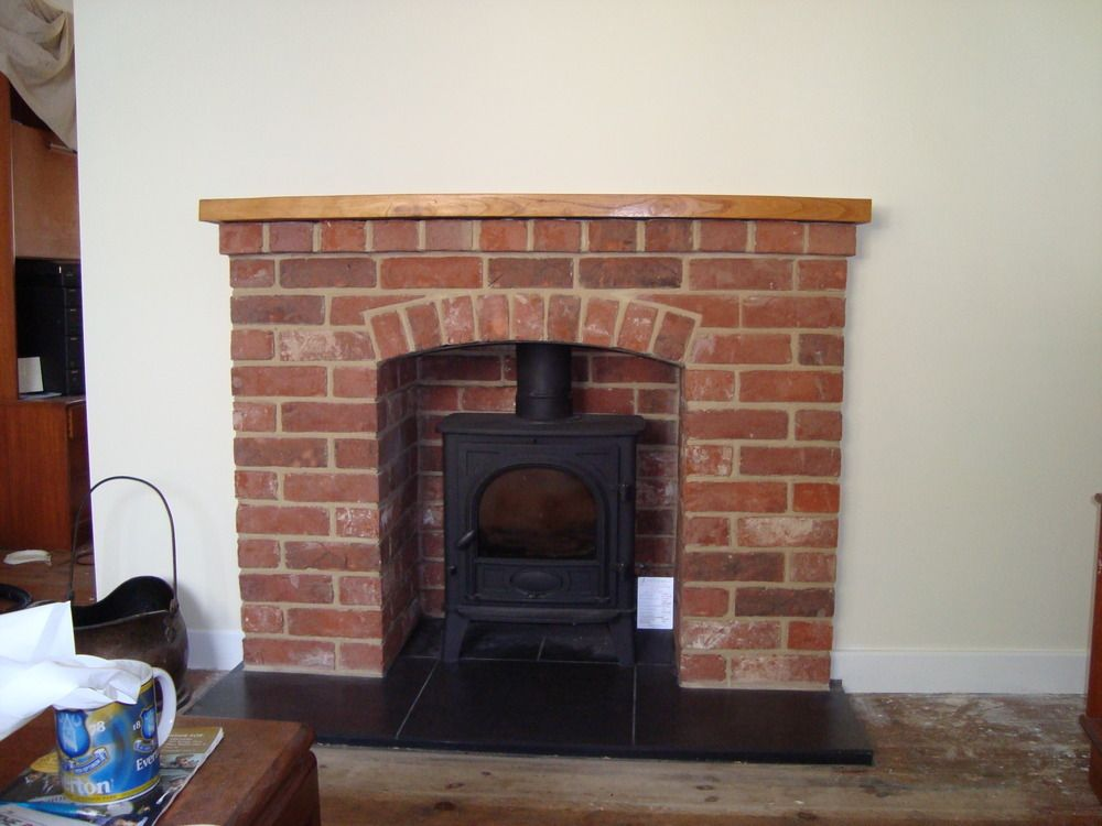 Tiled Fireplaces Stove Google Search Brick Fireplace Wood