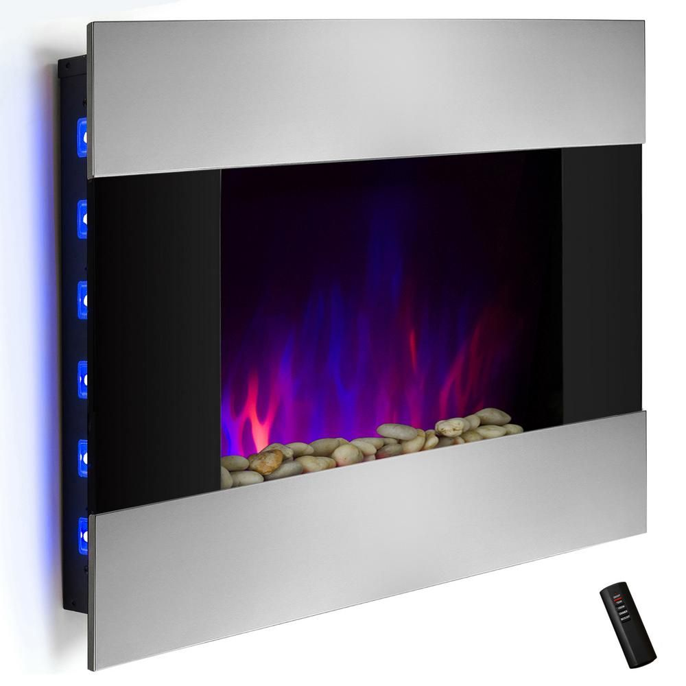 36 in wall mount electric fireplace heater in stainless steel