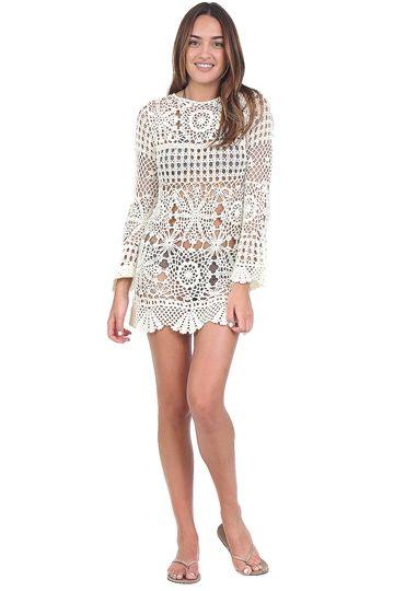 Off White Crochet Cover Up