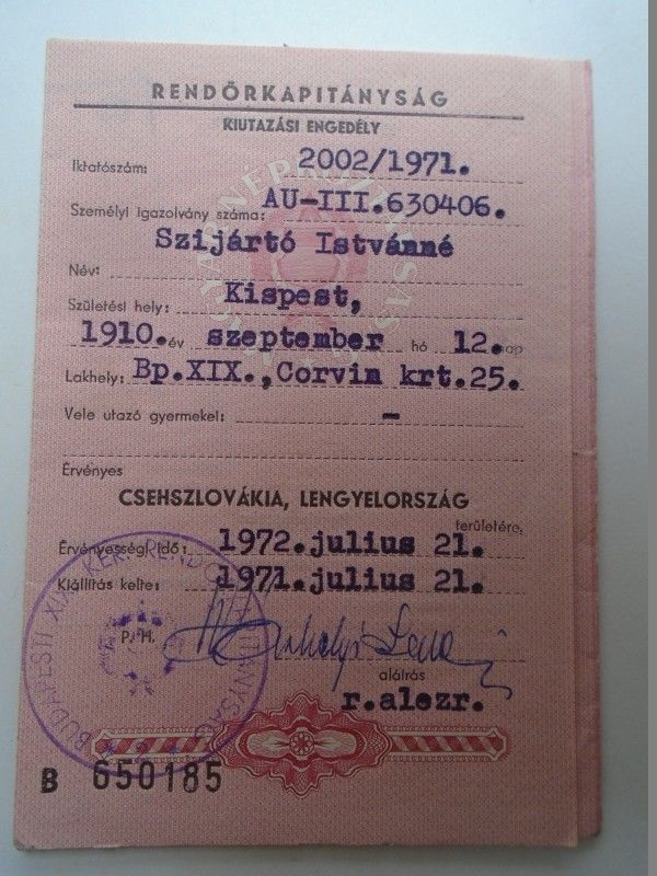 Pr2514 Hungary 1971 Travel Permit Passport To Cssr And Poland