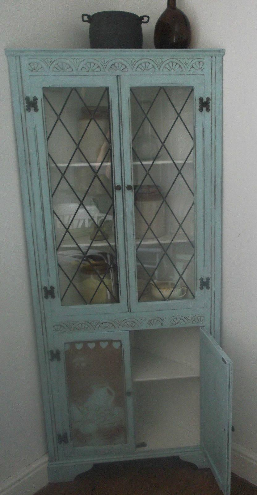 duck egg blue shabby. Original Hand Painted Corner Cupboard In Distressed \ Duck Egg Blue Shabby