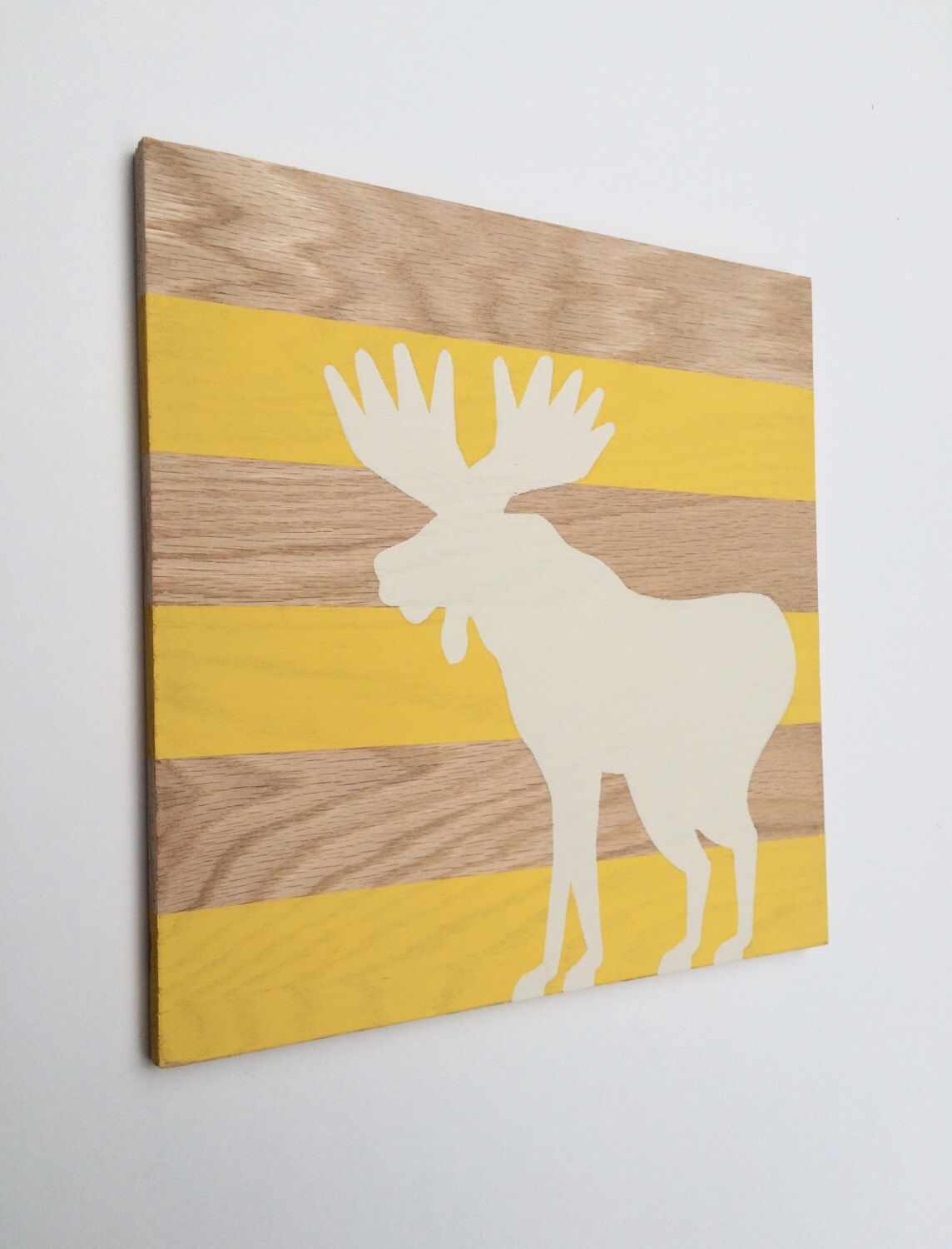 Hand Painted Woodland Nursery Art - Moose Decor - Woodland Animals ...