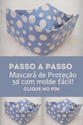 Mascará de Proteção 3d tecido com molde fácil!