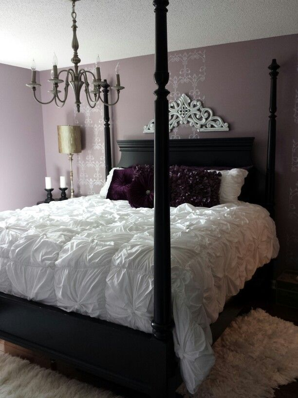 Purple Bedroom With Black Furniture .