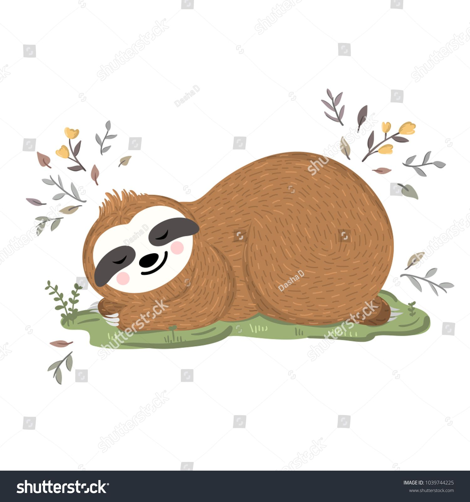 Cute baby sloth sleeping on the grass among flowers and
