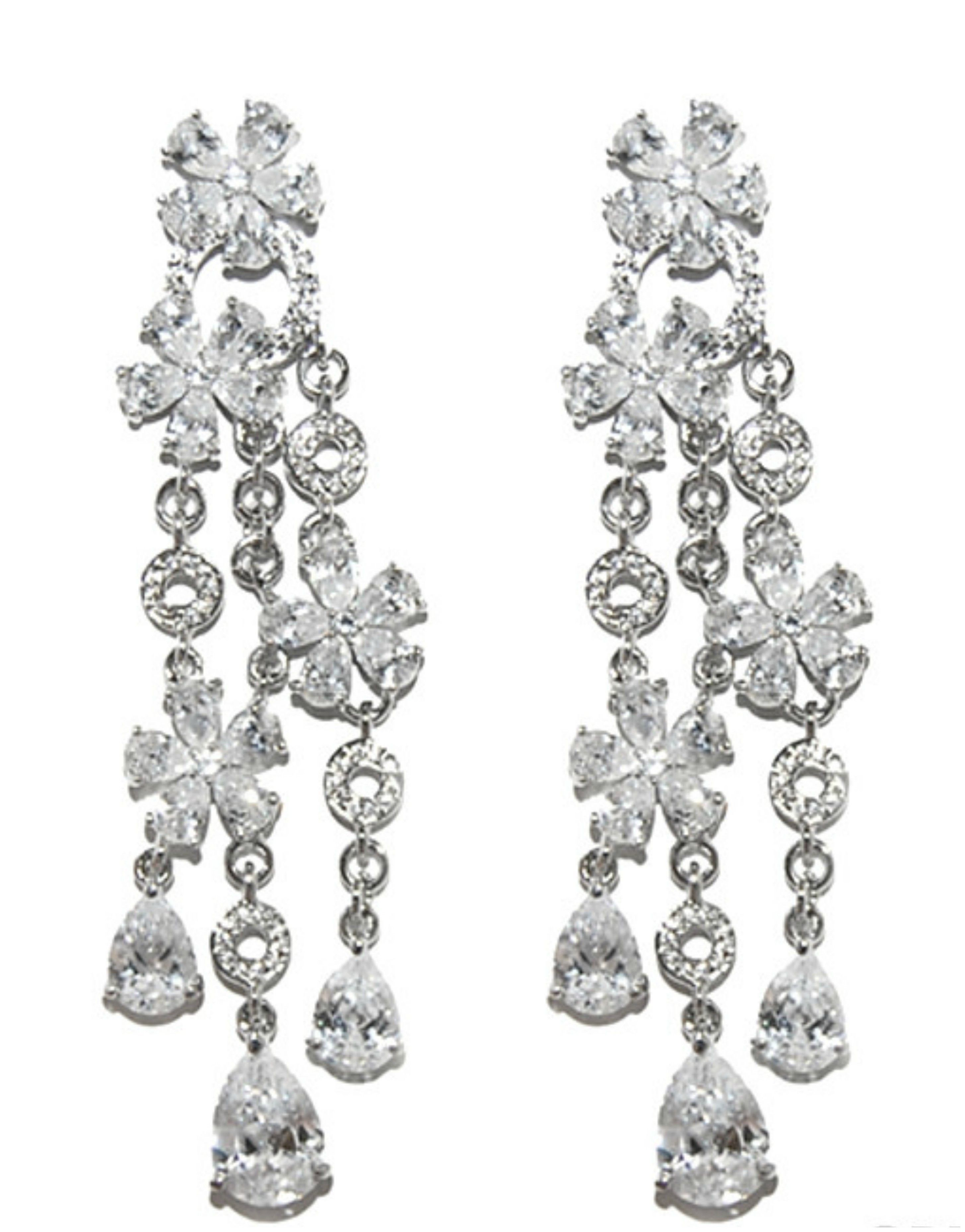 Audra flower cluster dangle chandelier earrings cubic zirconia audra flower cluster dangle chandelier earrings cubic zirconia silver arubaitofo Choice Image