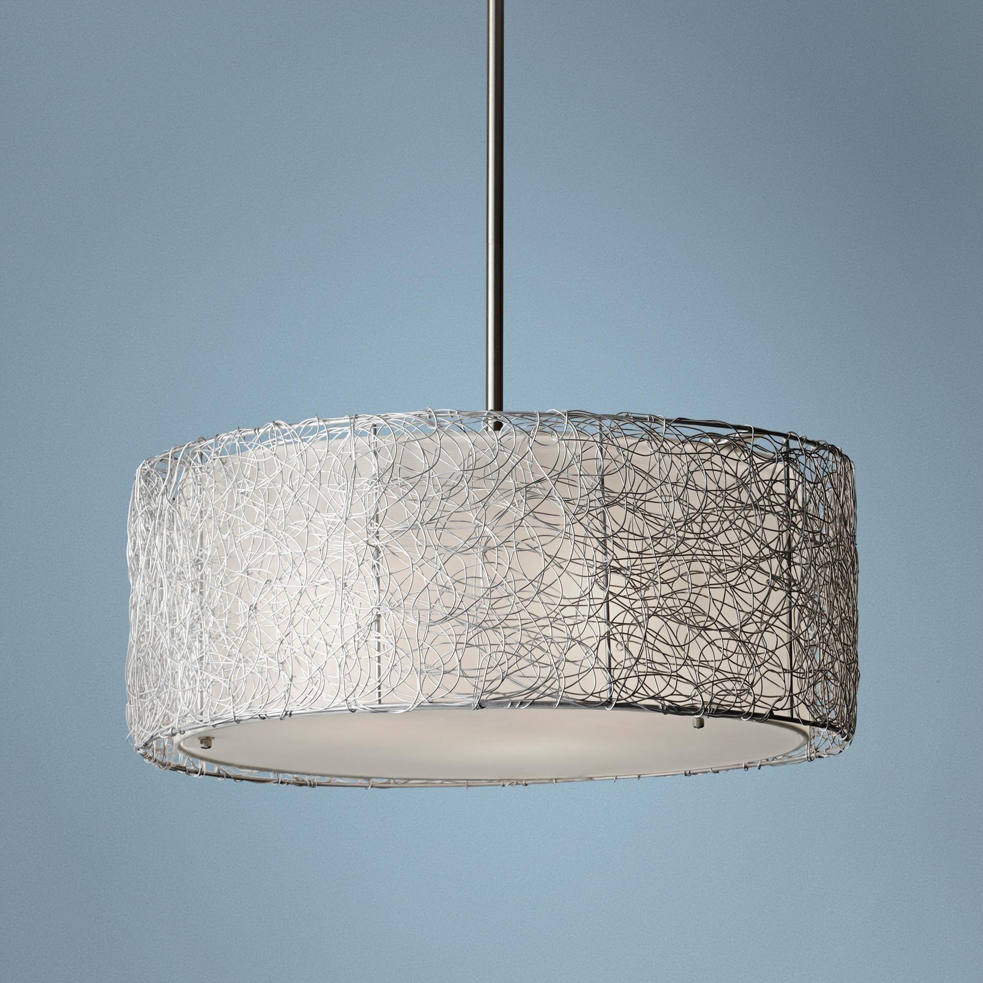 Feiss wired 19 34 wide brushed steel pendant light pendant murray feiss wired 19 34 wide brushed steel pendant light aloadofball Gallery