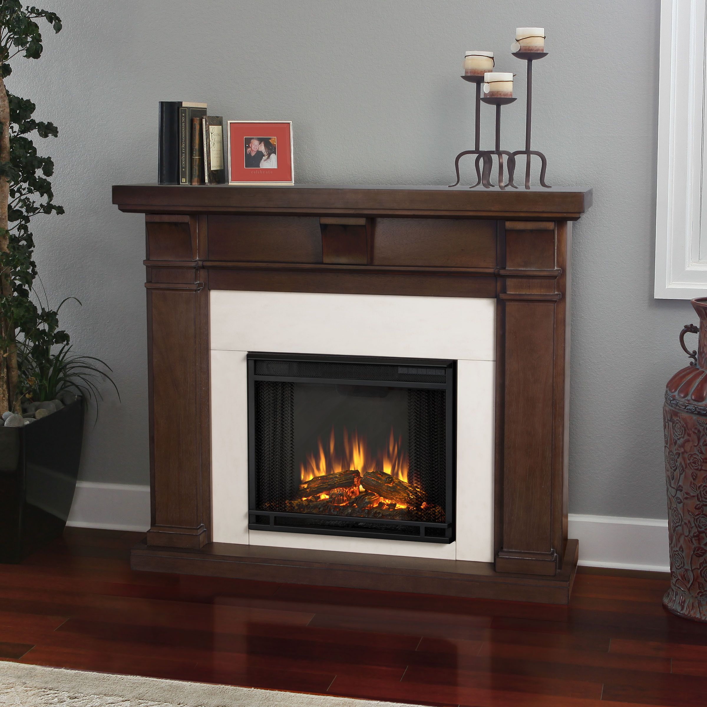 The Porter Fireplace features distinct craftsman appeal with three