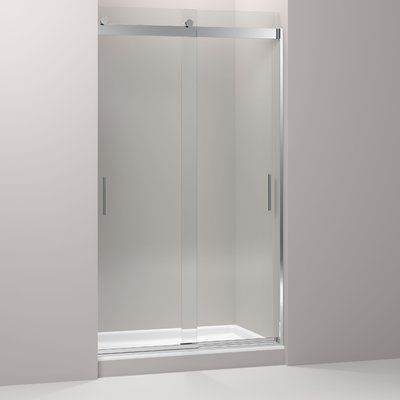 "Kohler Levity 44.63"" - 47.63"" W x 82"" H Double Sliding Shower Door with Blade Handles with CleanCoat® Technology 