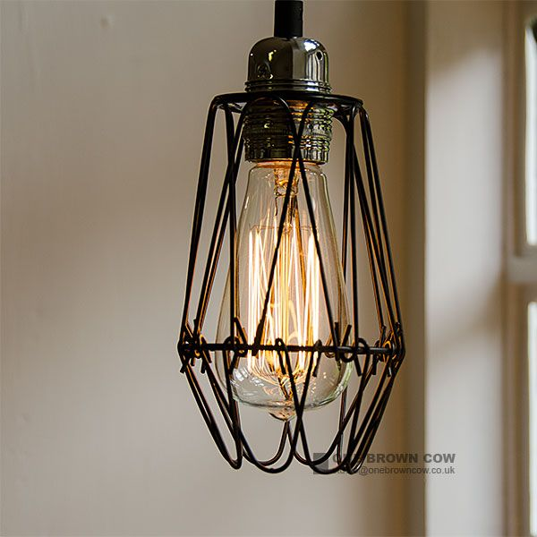 small black wire cage light shade industrial style light. Black Bedroom Furniture Sets. Home Design Ideas