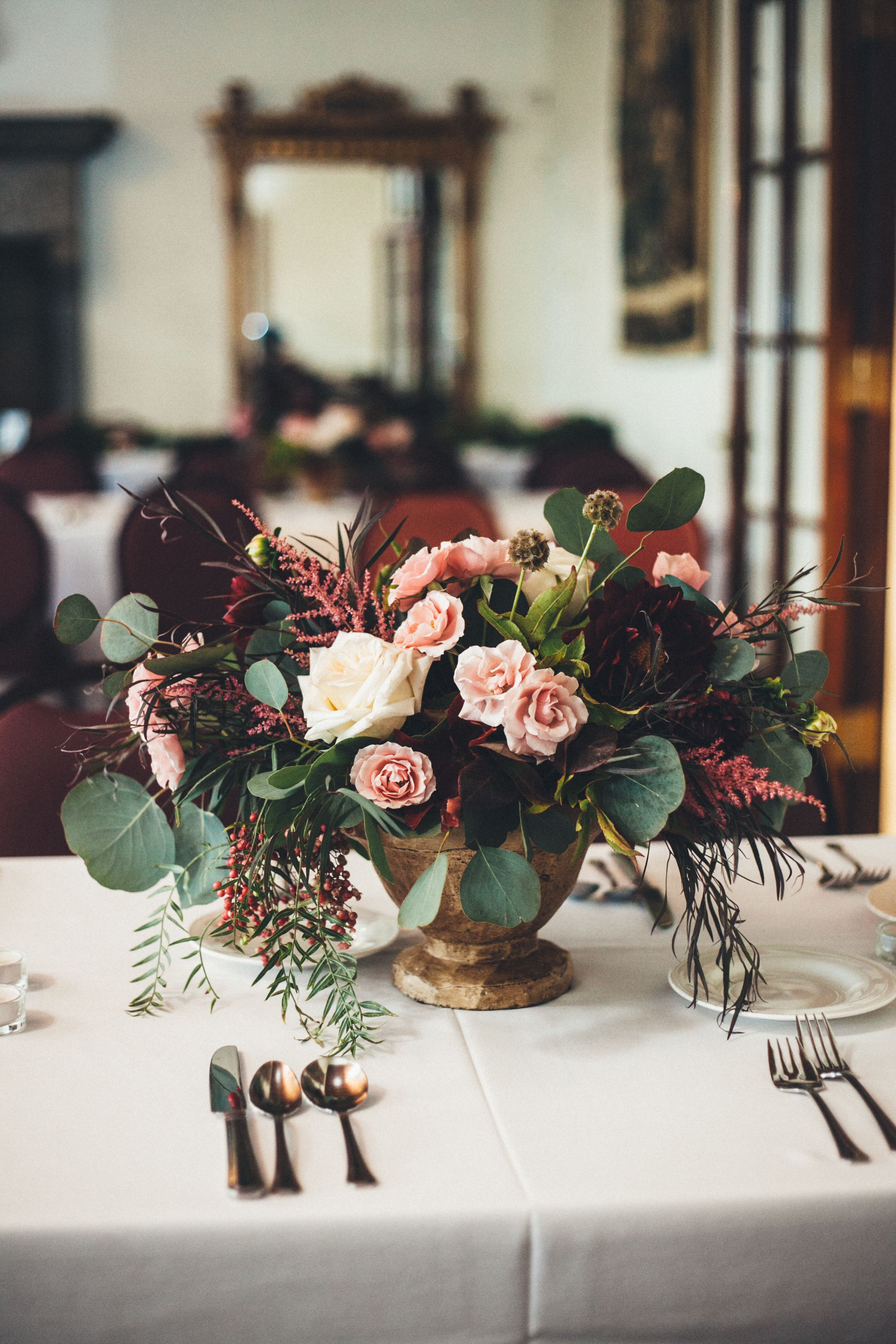 Fall Centerpiece With Blush Cream And Burgundy Palette By Eve