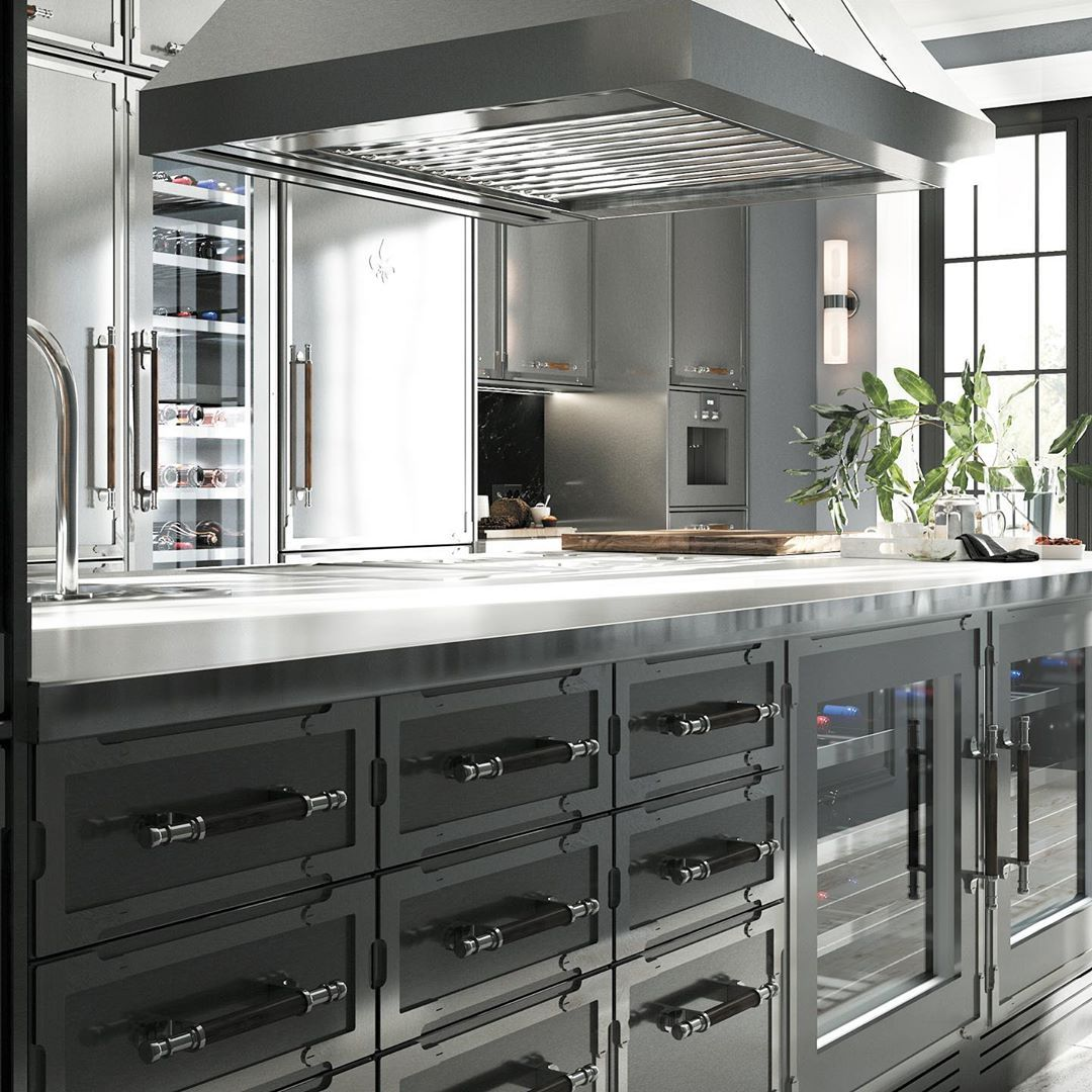 L Atelier Paris On Instagram Entire Kitchen Fitted With Custom Stainless Steel Cabinets Cooking Suite Matching Appl In 2020 Kitchen Fittings Kitchen Kitchen Decor