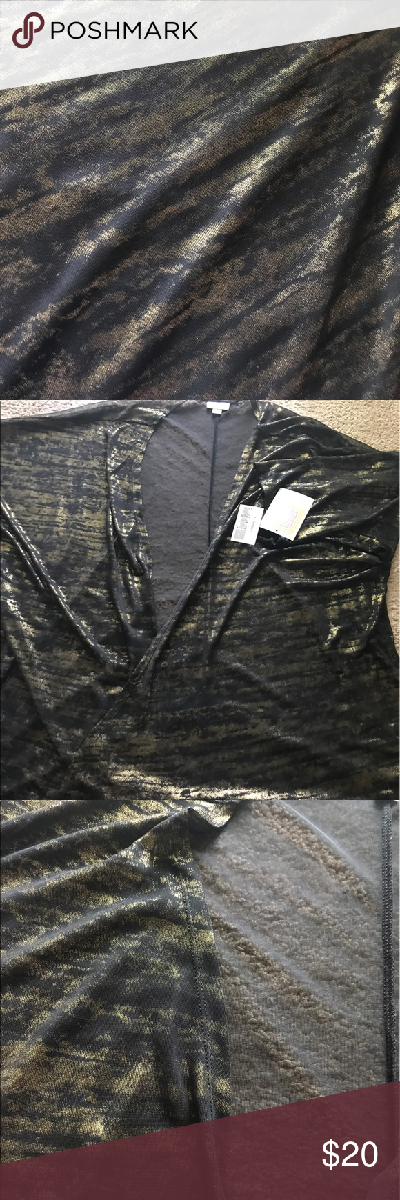 Gold foil Elegant 2016 Lindsay Kimono Size large NWT Lindsay from this holidays seasons Elegant Collection.  It is a sheer black Kimono with shiny gold foil running across it. The pattern runs more horizontal and kind of looks like tiger stripes (but isn't).  I usually wear a 1x in LLR and sized down for this. I never wore it! LuLaRoe Other