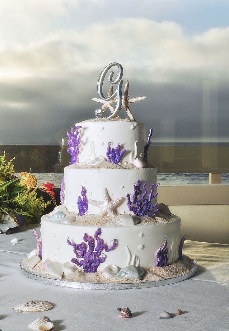 Purple Beach Wedding Cakes Beach Themed Wedding Cake Gotta Love