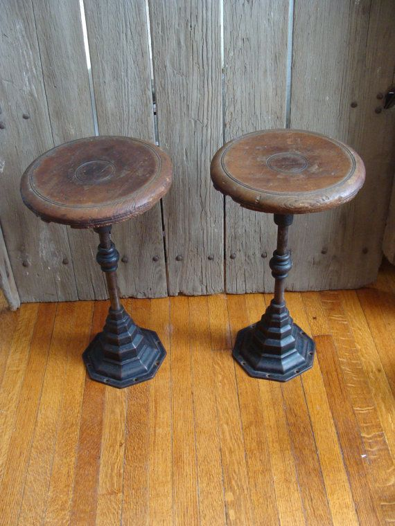 Vintage Cast Iron Stool Wood Soda Fountain Bar By Macandmarys
