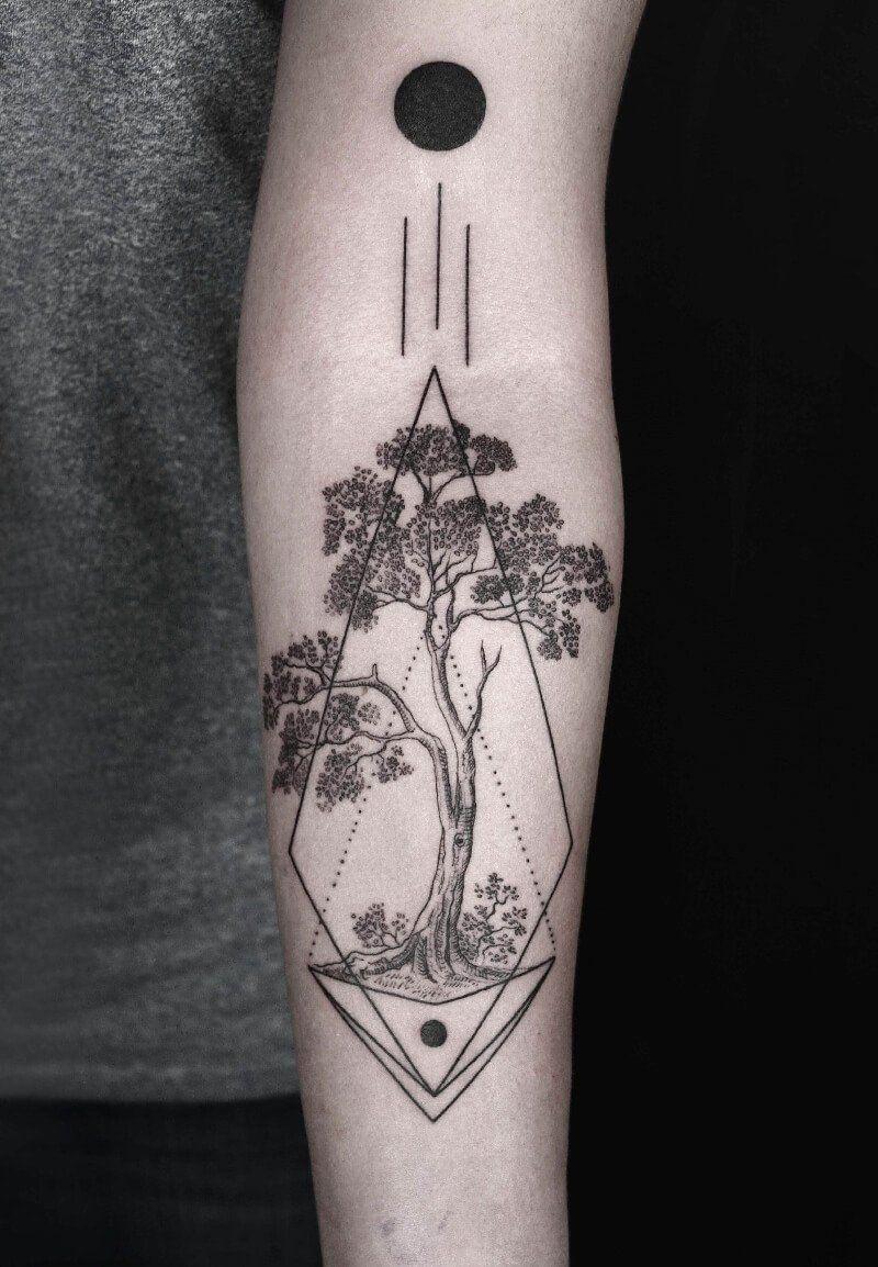Geometric Forest Tattoo : geometric, forest, tattoo, Tattoo, Design, Forest, Ideas, Symbol, Knowledge, Geometric, Tattoo,, Design,, Pattern