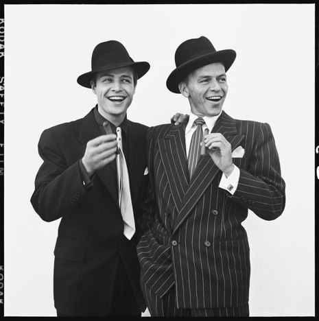 Marlon Brando and Frank Sinatra as Sky Masterson and Nathan Detroit on the set of Guys and Dolls, Los Angeles, 1955, by Richard Avedon.