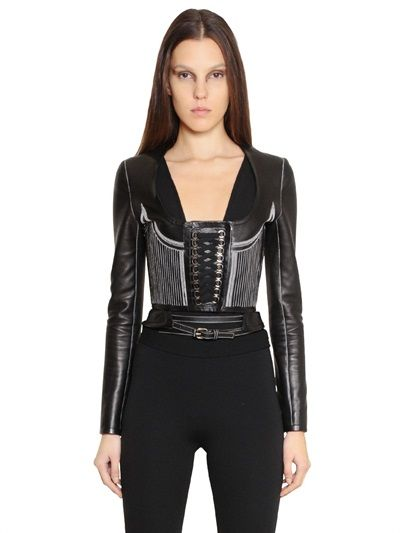 9474fa4deec NAPPA LEATHER CORSET JACKET. GIVENCHY - NAPPA LEATHER CORSET JACKET -  LUISAVIAROMA - LUXURY SHOPPING WORLDWIDE SHIPPING - FLORENCE Leather