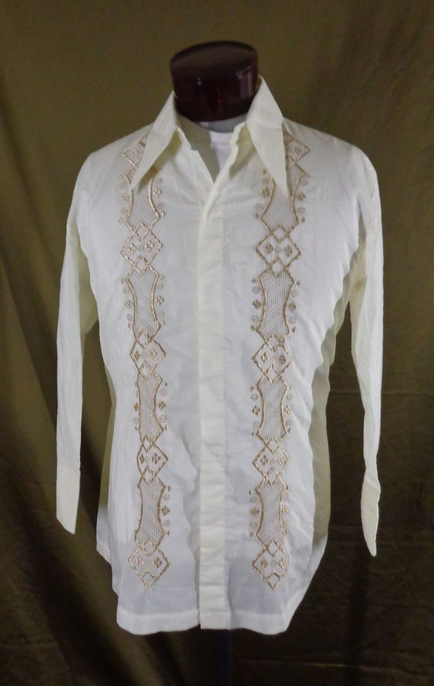 a4adad59 Vintage Men's White Long Sleeve Gold Embroidered Philippine Wedding Shirt –  XL #YoursbyJonathan #ButtonFront #Doyoureallyneedone