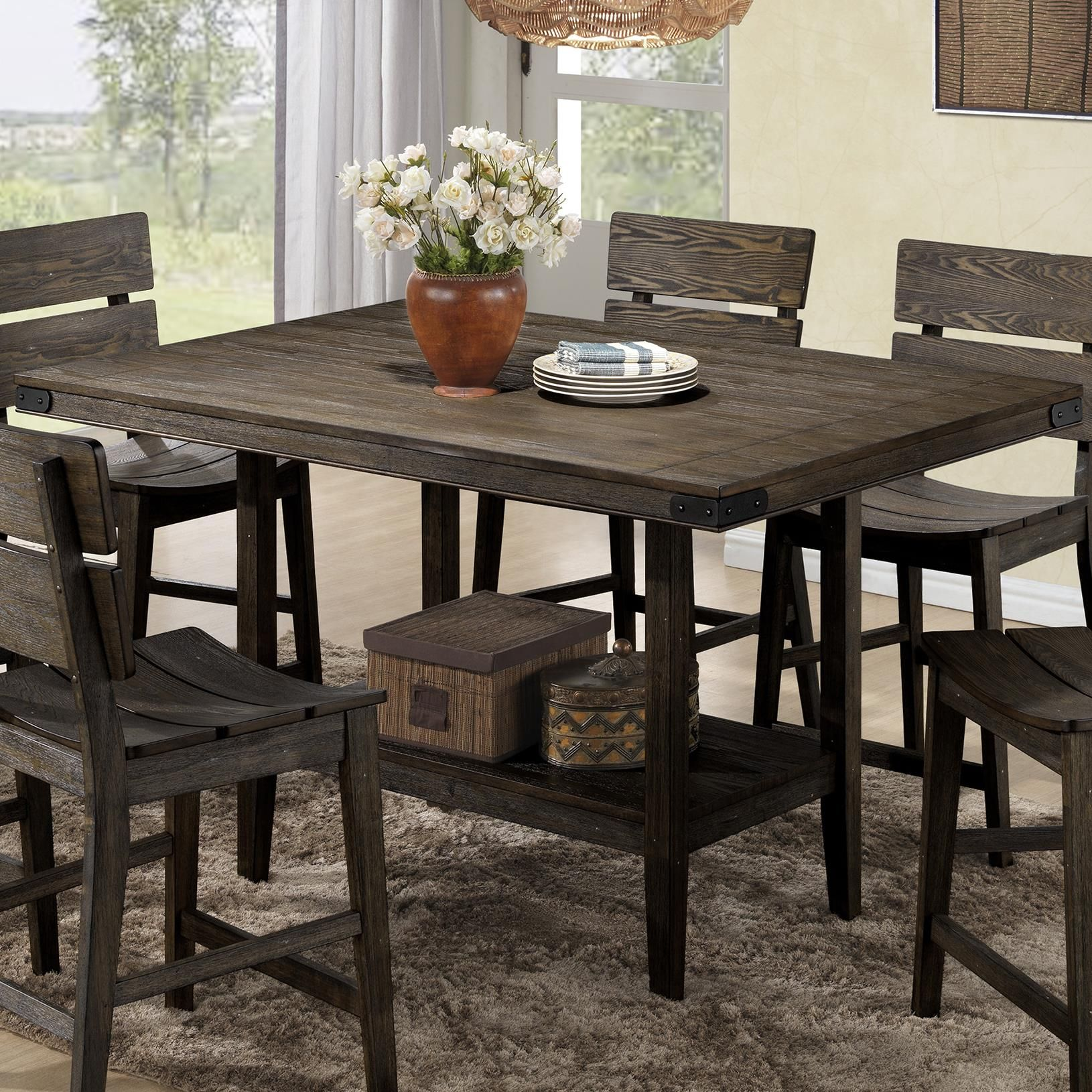 Brandon rustic counter height table by crown mark at