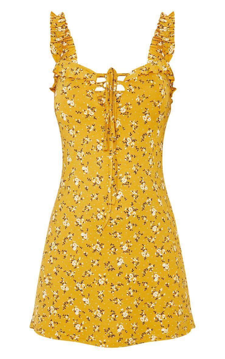 Mustard Floral Print Frill Detail Shift Dress in 2019  3cd0e9a9c