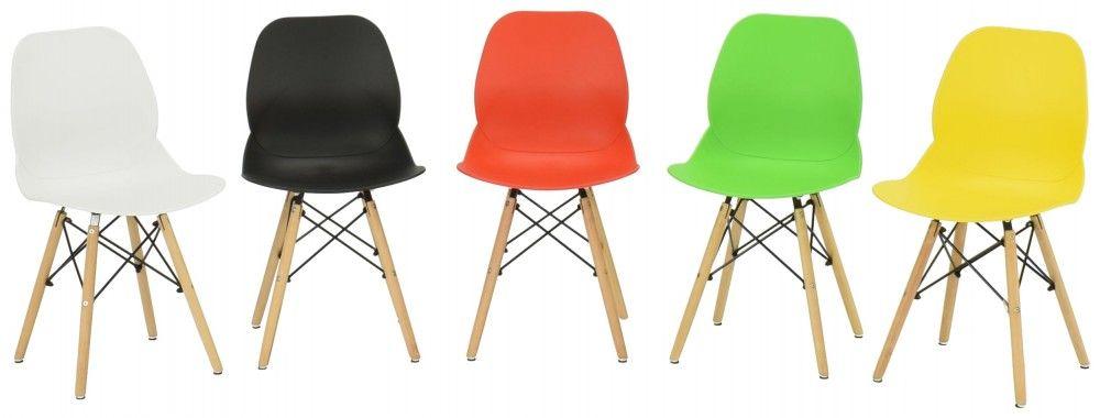 Rana tuoli, värivaihtotoehtoina valkoinen, musta, punainen, vihreä ja keltainen
